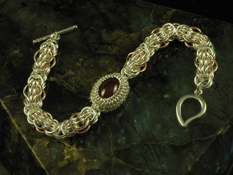 Double-Stuff Trizantine Bracelet With A Wrapped Cabochon