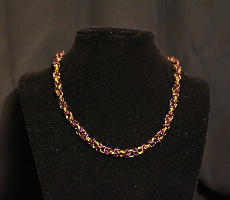 Purple and Yellow Byzantine Necklace