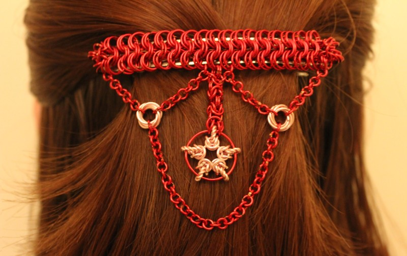 Red Hair Barrette with Pink Star