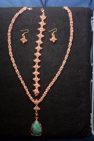Copper Byzantine Necklace with Bloodstone Pendant.
