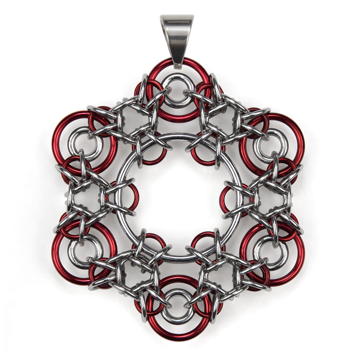 Pendant Ice Crystal Retro Red