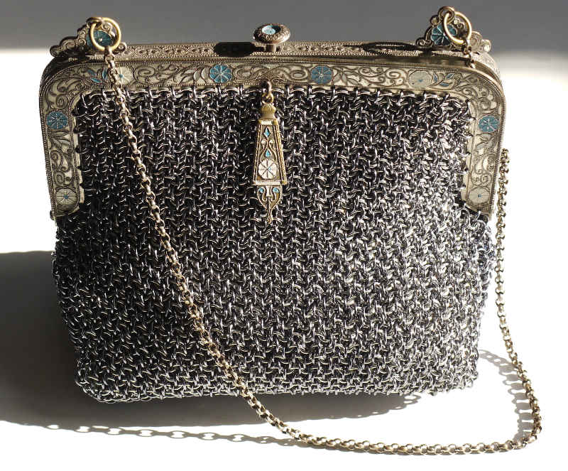 Vipera Berus purse with vintage frame
